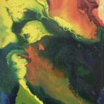 233 Gelber Fluss, Aquarell auf Leinwand, Beate Braungart, 100 x 40 cm