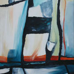 071 Spiel mit rot und blau I,Acryl auf Leinwand, Karin Lesser-Köck, 40 x 30 cm