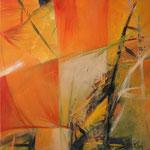 077 Orange Garden, Acryl auf Leinwand,  Karin Lesser-Köck, 50 x 50 cm