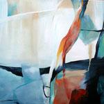 072 Spiel mit rot und blau, Acryl auf Leinwand, Karin Lesser-Köck, 60 x 80 cm