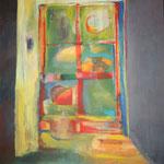 210 Fenster zur Welt, Acryl auf Leinwand, Brigitte Reich, 100 x 100 cm