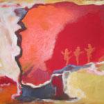 112 tanz im Rot,   Öl und Acryl auf Leinwand, Herta Reitz, 80 x 100 cm