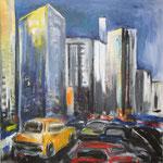 118 Abend auf den Straßen, Acryl auf Leinwand, Heide Göbel, 70 x 70 cm