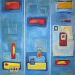 113 I-III, Versunken im Blau 3-teilig, Acryl auf Leinwand, Herta Reitz, je 140 x 40 cm
