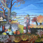 206 der Angler, Öl auf Leinwand, Remzi Nuha, 40 x 50 cm