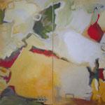 029 Late Summer, Acryl/Öl auf Leinwand 2-teilig, Herta Reitz, je 160 x 90 cm