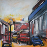 262 Großstadt II, Acryl auf Leinwand, Heide Göbel, 80 x 80 cm