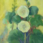 305 Gelbe Stockrosen, Acryl auf Leinwand, Brigitte Reich, 100 x 50 cm