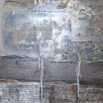 056 Freudentanz, Collage auf Leinwand, Wolf Pannitschka, 80 x 40 cm