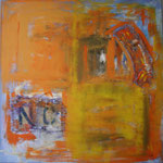 161 No, Acryl und Sackleinen auf Leinwand, Ingrid Stolzenberg, 100 x 100 cm