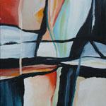 071 Spiel mit rot und blau II,Acryl auf Leinwand, Karin Lesser-Köck, 40 x 30 cm