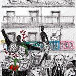 327 Invasion der Kreativität, Fineliner Marker und Filzstifte auf Papier, Rahim Aziz, 42 x 30 cm