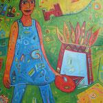 315, Spiegelfrau, Acryl auf Leinwand, Nicole Wächtler, 160 x 100 cm