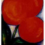 121 Flora Apricot, Acryl auf Papier, Herta Reitz, 90 x 70 cm