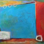 080 Farbenspiel 5a, Öl und Acryl auf Leinwand, Herta Reitz, 76 x 116 cm