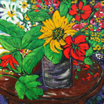 082 Sommerstrauß, Acryl auf Leinwand, Gudrun Voigt, 80 x 80 cm