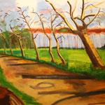 015 Herbstlandschaft,, Acryl auf Leinwand, Manfred Rüth,  90 x 120 cm