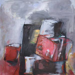 250 Gestapelt, Acryl auf Leinwand, Heide Göbel, 70 x 70 cm