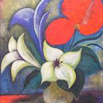 199 Vier Blumen, Acryl auf Leinwand, Herta Reitz, 98 x 108 cm