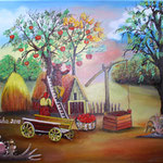 205 Die Apfelernte, Öl auf Leinwand, Remzi Nuha, 40 x 50 cm