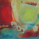 189 Verbunden, Öl und Acryl auf Leinwand, Herta Reitz, 100 x 100 cm