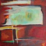 318 Tief im Rot I, Öl und Acryl auf Leinwand, Herta Reitz, 70 x 50 cm