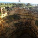 Und so sehen die kreisrunden Höhleneinbrüche von oben aus.