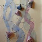 Rosa tuben med onigiri, akvarell+collage, 70x50cm