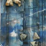 Blåonigiri, akvarell+collage, 57x40cm