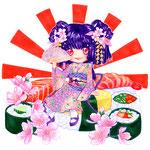 Sushi - Sticker Illustration. Outlines by Araveena.