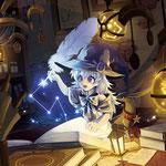 【使用ソフト】SAI、【制作時間】約28時間、【コンセプト】星の魔法を使う少女が魔法本から星の力を引き出しているところです。