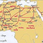 carte des principales routes du commerce transsaharien (Bernard Nantet).