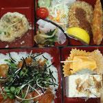 ヤマメ漬け寿司_ヤマメフライコロッケ煮物ほか_¥1200