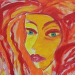 Donna tutta rossa- particolare- secondo periodo milanese