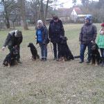 Gruppenbild, von links Antara, Anka, Moritz und Laika