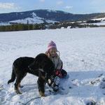 Erster Schneeausflug mit Laika und Selina