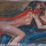 1988 Liegende Acryl auf Wellpappe 70x100cm