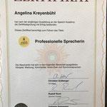 Zertifikat professionelle Sprecherin Angelina Kreyenbühl