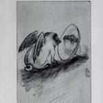 Smajic, Susanne m Konstanz. Radierung, 2012. Platte 155 x 245 mm. Probedruck III. Kritische Selbstbetrachtung.001