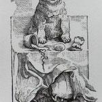 Rulf, Bettina . Berlin. Acrylstich. 2009. Blatt 135 x 80 mm. Platte 115 x 50 mm. Ein Mops kam in die Küche, und stahl..... 001