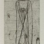 Levana Schule, Klasse OII . Eisleben. Radierung, 2009. Auflage 50. Blatt 235 x 105 mm. Platte 180 x 55 mm. Herr WW mit Mops Darwin. 001