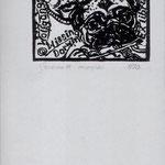 Phillips, Gerd (Gerome ) Leipzig, Holzschnitt.2011. Auflage 70.Blatt 180 x 100 mm. Platte  65 x 70 mm. Mopsfidel. 001