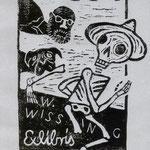 Fiebig, Ina, Madrid, Linolschnitt,2009. Auflage 70. Blatt 210 x 150 . Mops D. verteidigt seinen Herrn WW gegen den Tod. 001
