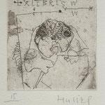Hussel, Horst Berin. Radierung, 2009. Auflage 40. Blatt 180 x 130 mm. Platte 60 x 60 mm. Mein Mops Darwin. 001