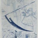 Rössler, Irina .Templin. Radierung, 2010. Auflage 75. Blatt 265 x 180 mm. Platte 195 x 150 mm. Mops und Tod, nach James Ensor. 001