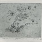 Smajic, Susanne . Konstanz, Radierung, 2012. Platte 174 x 215 mm. Probedruck I, Darwins Traum. 001