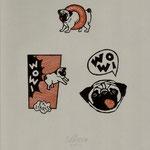 Wahle, Frank . Berlin-Holzschnitt ,2011. Auflage X. Blatt 295 x 210 mm. Drei Mopsexlibris auf einem Blatt . 001