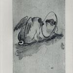 Smajic, Susanne , Konstanz. Radierung, 2012. Platte 155 x 245 mm. Probedruck II. Kritische Selbstbetrachtung.001