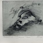 Smajic, Susanne . Konstanz. Radierung,  2012. Platte 175 x 215 mm. Probedruck III. Darwins Traum. 001