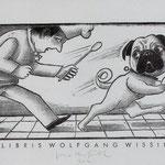 Herfurth, Egbert, Leipzig. Holzschnitt. Auflage 100. Blatt 100 x 149 mm. Platte 65 x 115 mm. Ein Mops kam in  die Küche....... 001
